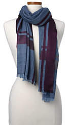 Lands' End Women's Wool Silk Border Scarf-Vicuna Heather/Black Stripe