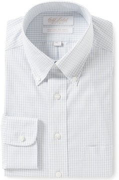 Roundtree & Yorke Gold Label Non-Iron Fitted Button-Down Collar Checked Dress Shirt