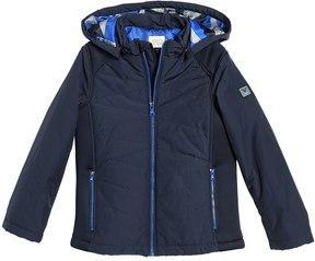 Armani Junior Hooded Nylon & Neoprene Puffer Jacket