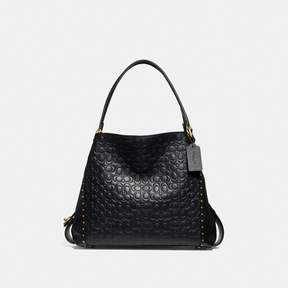 COACH COACH EDIE SHOULDER BAG 31 IN SIGNATURE LEATHER WITH RIVETS - BRASS/BLACK