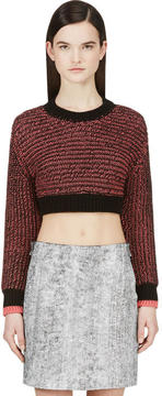 Cédric Charlier Black and Pink Knit Crop Sweater