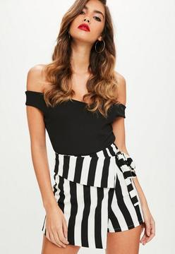Missguided White Striped Wrap Over Tie Skort