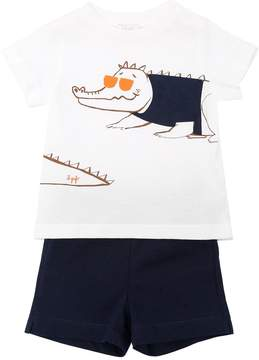 Il Gufo Crocodile Cotton Jersey T-Shirt & Shorts