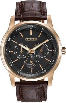 Citizen Men's Dress Eco-Drive Black-Brown Leather Strap Watch 44mm BU2013-08E