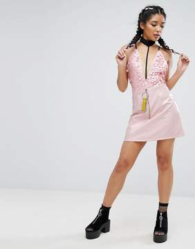 Jaded London Patent Mini Skirt With Tape Ring Pull