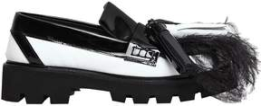 MSGM 40mm Patent Leather Loafers W/ Feathers