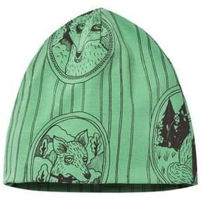Mini Rodini Green Fox Print Beanie Hat