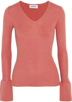 DKNY Ribbed Silk, Wool And Cashmere-blend Sweater - Brick