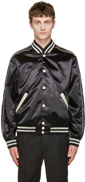 Calvin Klein Collection Black Satin Rankin Bomber Jacket