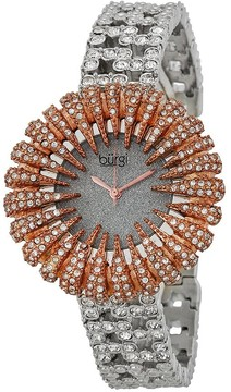 Burgi Sparkling Silver-tone Dial Crystal Set Metal Ladies Watch