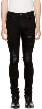 Amiri Black MX1 Leather Patch Jeans