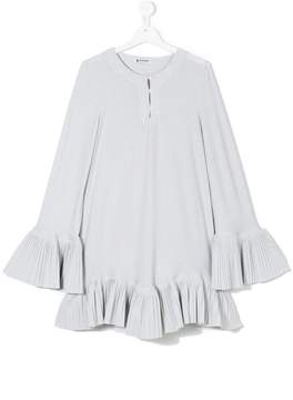 Dondup Kids buttoned neck pleated dress