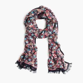 J.Crew Dark floral wool-blend scarf