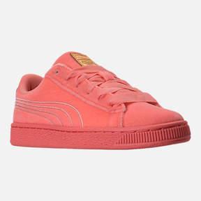 Puma Girls' Grade School Basket Classic Velour Casual Shoes