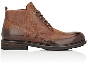 Barneys New York MEN'S GRAINED LEATHER LACE-UP BOOTS