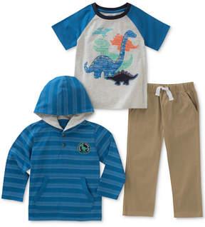 Kids Headquarters 3-Pc. Striped Hoodie, Dino-Print T-Shirt & Pants Set, Baby Boys