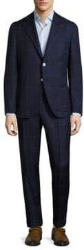 Isaia Windowpane Wool Suit