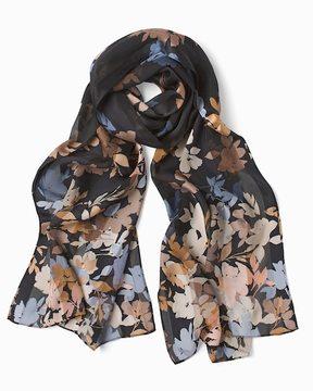 White House Black Market Silk Floral Shadow Stripe Oblong Scarf