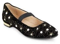 Aquazzura Mini Girl's Pearl Leather Ballet Flats