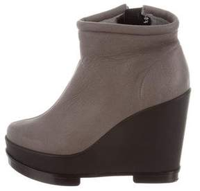 Robert Clergerie Suede Wedge Ankle Boots