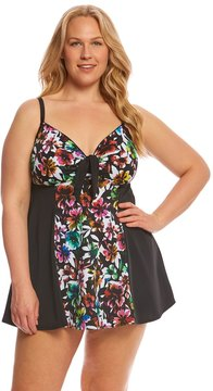 Fit 4 U Fit4U Plus Size Havana Vintage Tie Front Swimdress 8155903