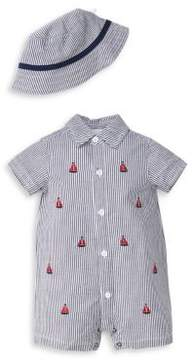 Little Me Baby Boy's Two-Piece Cotton Sailing Romper and Hat Set