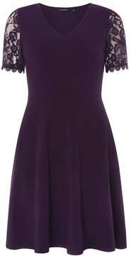 Dorothy Perkins Purple V-Neck Lace Sleeve Skater Dress