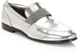 Brunello Cucinelli Mirror Effect Leather Loafers