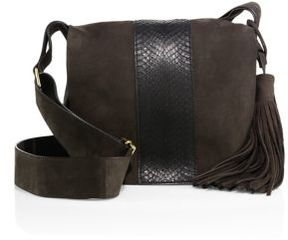 A.L.C. Suede & Watersnake Leather Saddle Bag