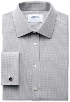 Charles Tyrwhitt Classic Fit Non-Iron Grey Cotton Dress Shirt French Cuff Size 16.5/36