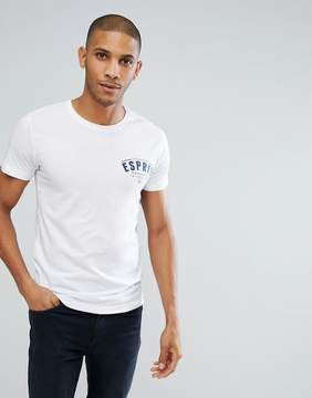 Esprit Crew Neck Slim Fit T-Shirt with Retro Americana Print in White