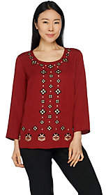 Bob Mackie Bob Mackie's Embroidered Woven Georgette Top