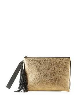 Brunello Cucinelli Metallic Leather Tassel Pouch Bag, Brown/Gold