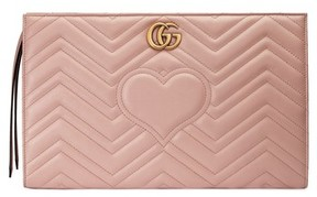 Gucci Gg Marmont Matelasse Leather Clutch - Red - RED - STYLE