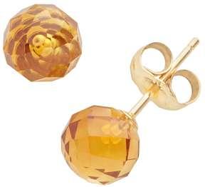 Ball 14k Gold Citrine Stud Earrings
