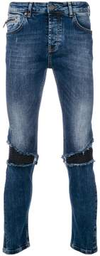 Frankie Morello distressed biker panel slim fit jeans