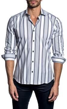 Jared Lang Long Sleeve Stripe Trim Fit Woven Shirt