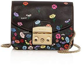 Furla Metropolis Mini Floral Print Leather Crossbody