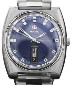 Rado Marco Polo Day Date Stainless Steel Automatic Vintage 36mm Mens Watch c1970s