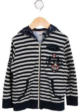 Ikks Boys' Striped Zip-Up Sweater
