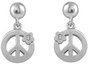 Ice Girls' Sterling Silver Diamond Flower Dangling Peace Sign Earrings
