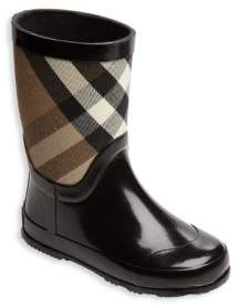Burberry Kid's Rubber & Check Cotton Rain Boots