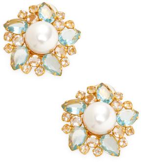 Bounkit Women's Pearl & Quartz Cluster Stud Earrings