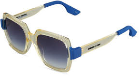 McQ Two-Tone Square Plastic Sunglasses, Yellow/Blue