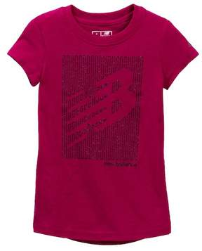 New Balance Short Sleeve Glitter Graphic Tee (Little Girls & Big Girls)