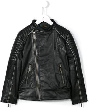 Roberto Cavalli logo print biker jacket