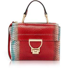 Coccinelle Arlettis Red Reptile Printed Leather Shoulder Bag