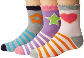 Jefferies Socks Pink/Purple/Grey Crew 3-Pack Girls Shoes