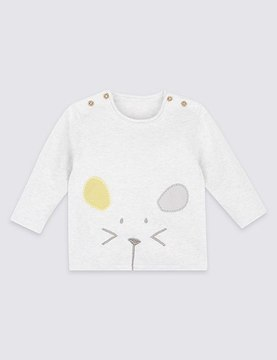Marks and Spencer Pure Cotton Mouse Applique Jumper