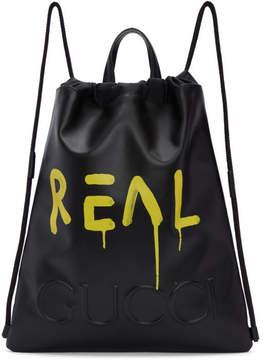 Gucci Black GucciGhost Drawstring Backpack